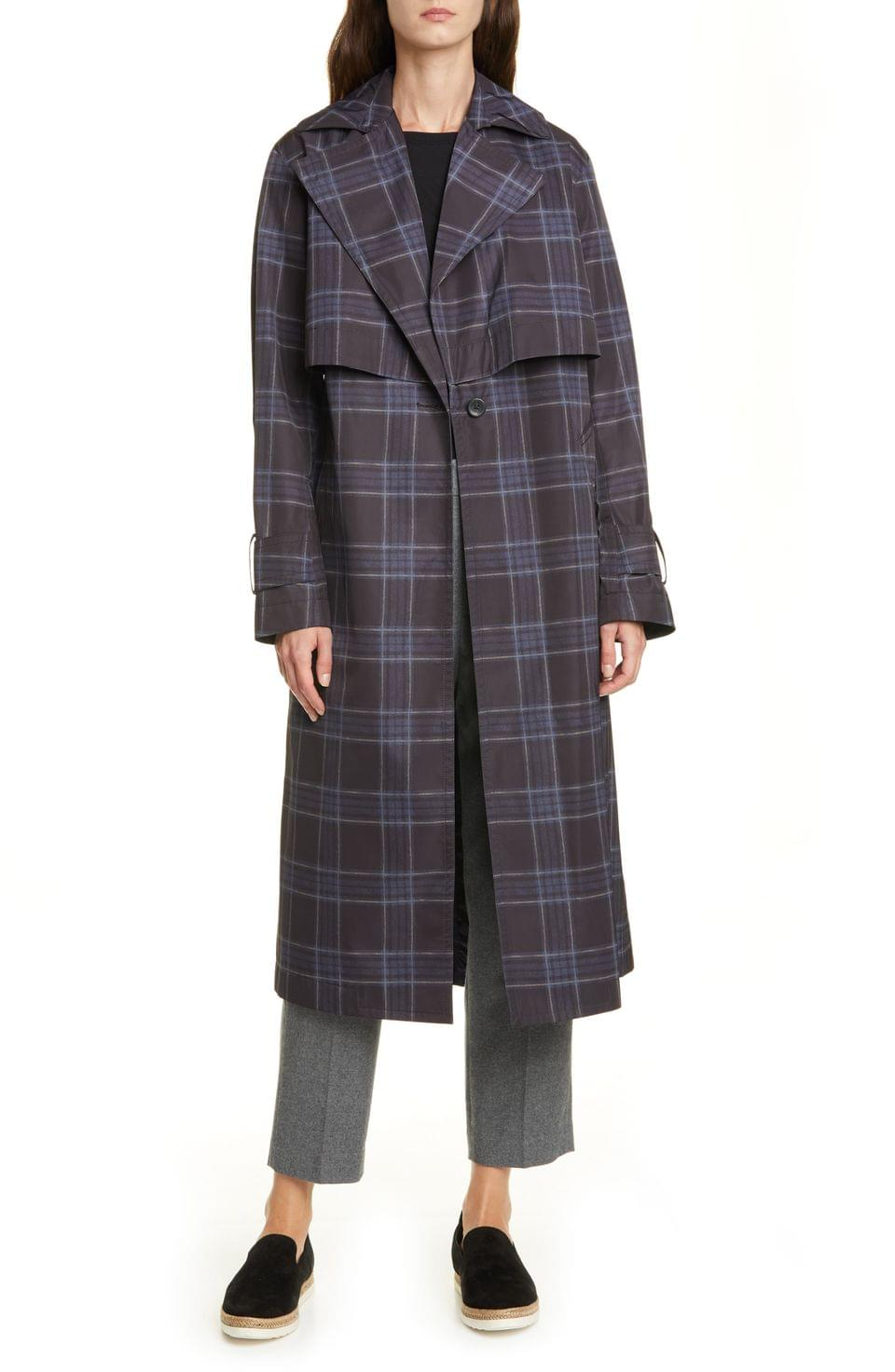 Women's Vince Plaid Trench Coat