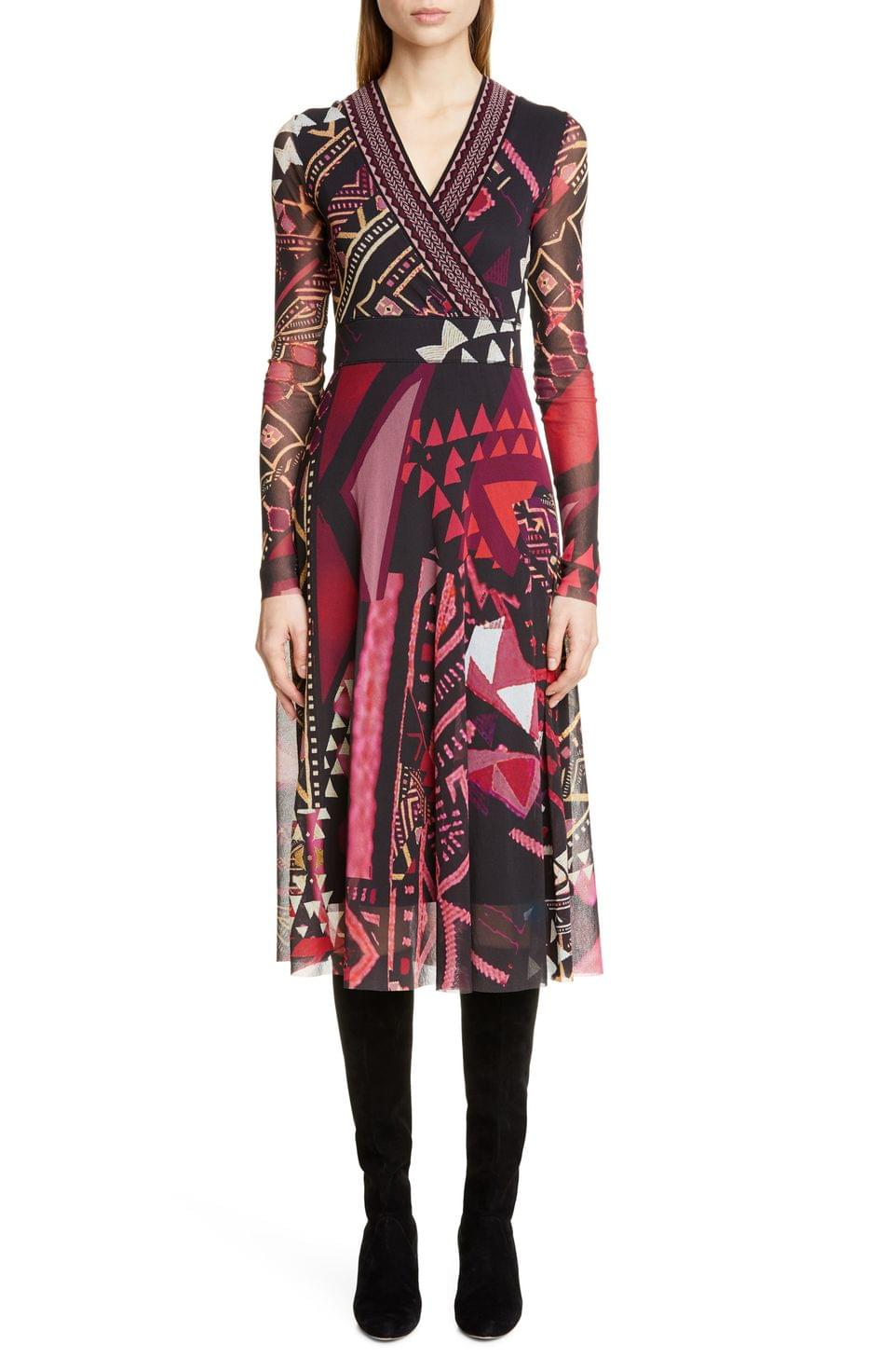 Women's Fuzzi Mixed Print Long Sleeve Midi Dress