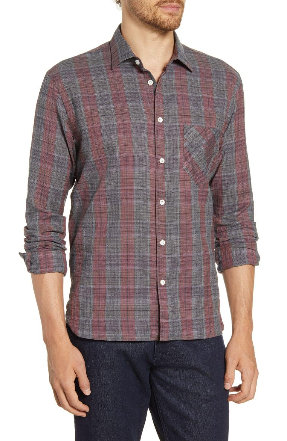 Men's Billy Reid John T Standard Fit Plaid Button-Up Sport Shirt