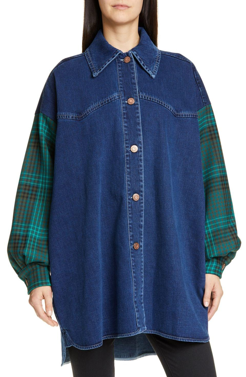 Women's See by Chlo Flannel Sleeve Denim Shirt Jacket