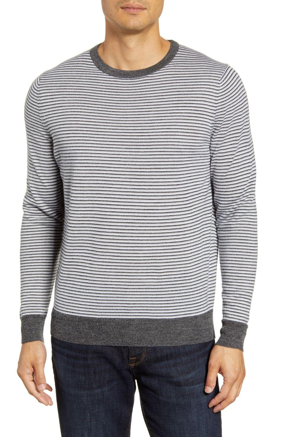Men's Nordstrom Men's Shop Regular Fit Stripe Merino Wool Blend Sweater