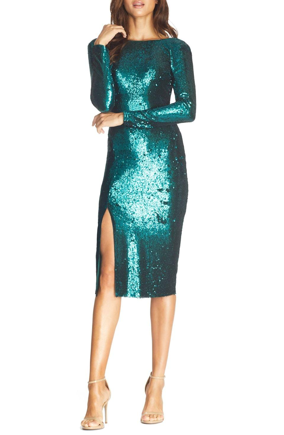 Women's Dress the Population Natalie Sequin Long Sleeve Body-Con Dress