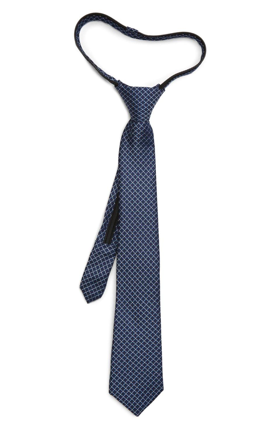 Boy's Nordstrom Mark Check Silk Zipper Tie (Big Boys)