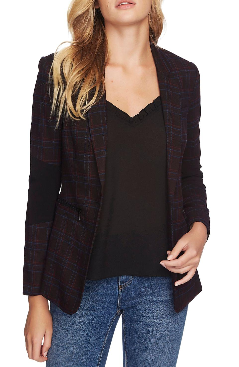 Women's 1.STATE Glen Plaid One-Button Blazer