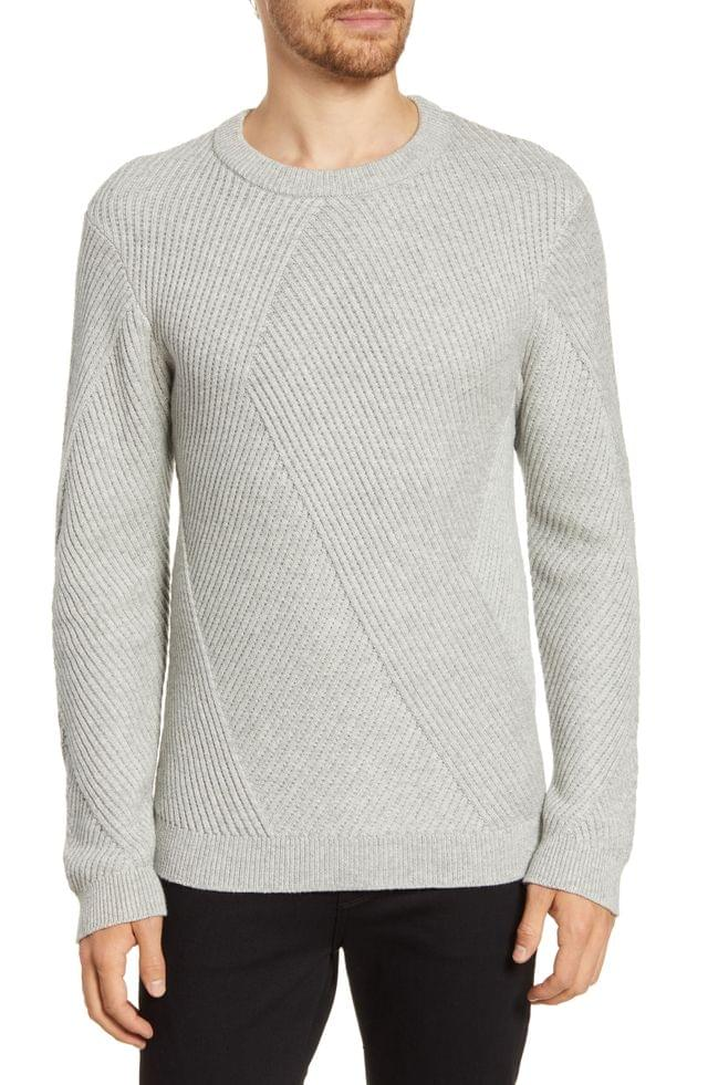 MEN French Connection Fashioned Rib Regular Fit Crewneck Sweater