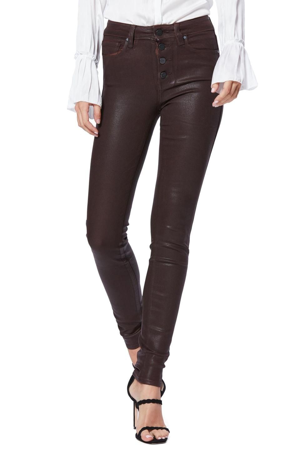 Women's PAIGE Transcend - Hoxton Coated High Waist Ultra Skinny Jeans (Chicory Coffee Luxe Coating)