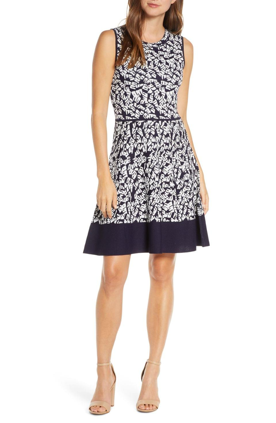 Women's Eliza J Print Fit & Flare Sweater Dress