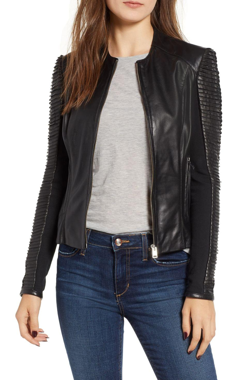 Women's LAMARQUE Collarless Pleated Sleeve Leather Jacket