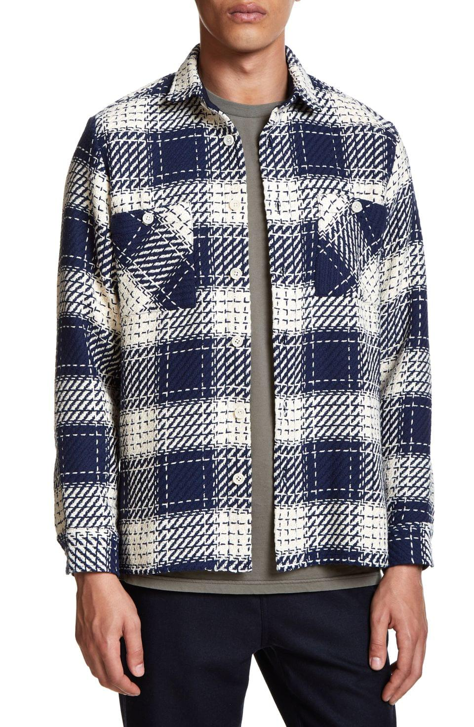 Men's Wax London Whiting Relaxed Fit Plaid Cotton Shirt Jacket