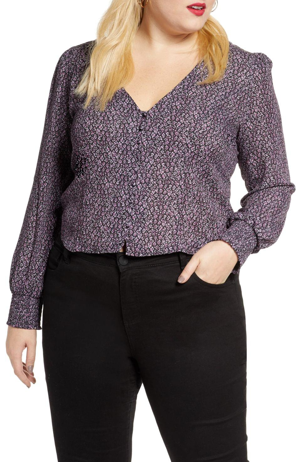 Women's Leith Front Button Printed Top (Plus Size)