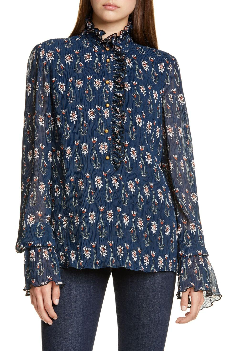Women's Tory Burch Doneuve Floral Print Blouse
