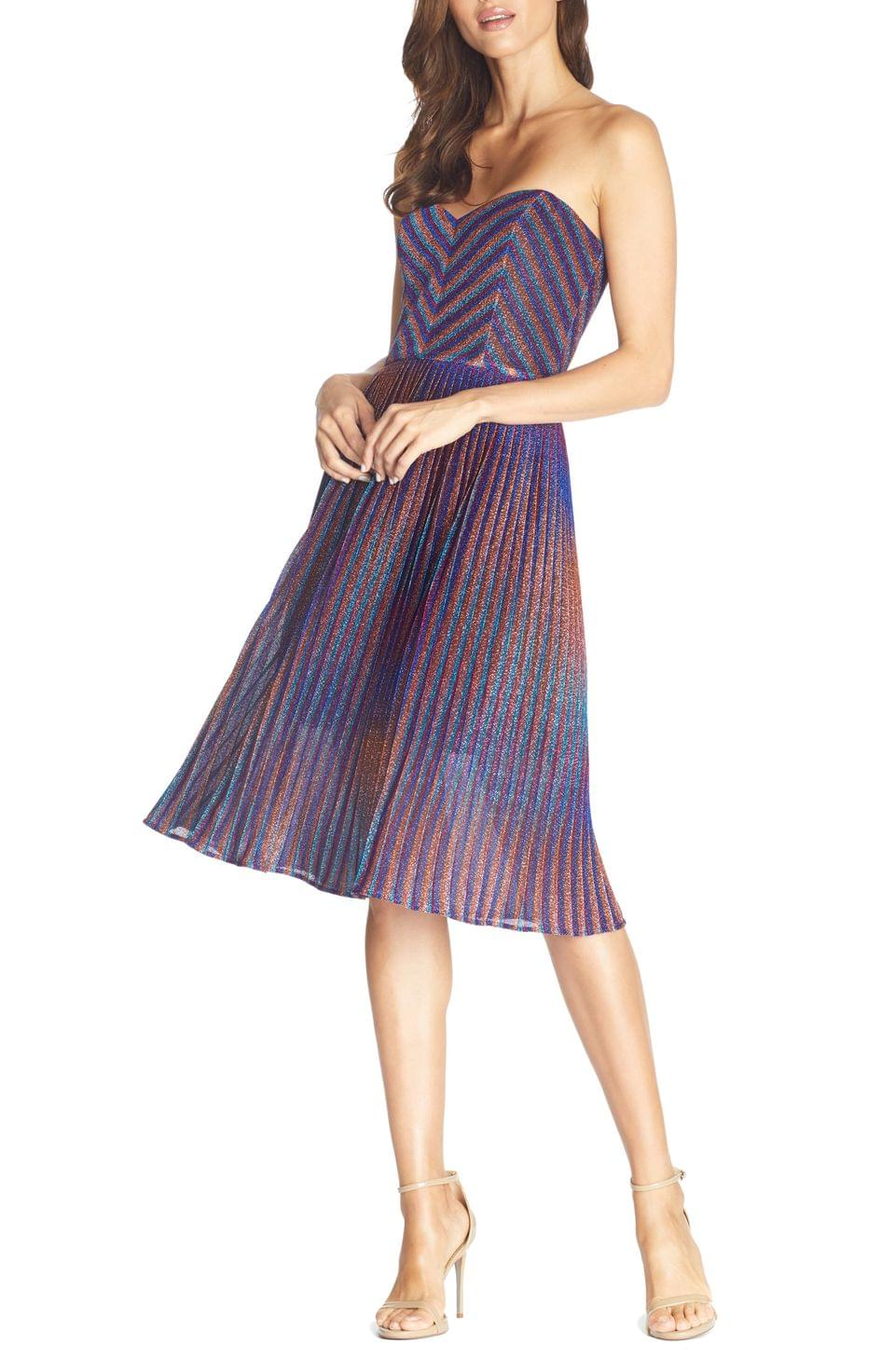 Women's Dress the Population Rosalie Metallic Stripe Strapless Cocktail Dress