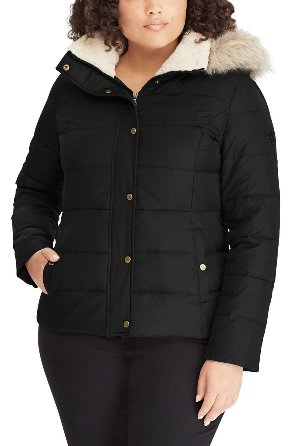 Women's Lauren Ralph Lauren Down Puffer Jacket with Faux Fur Trim (Plus Size)
