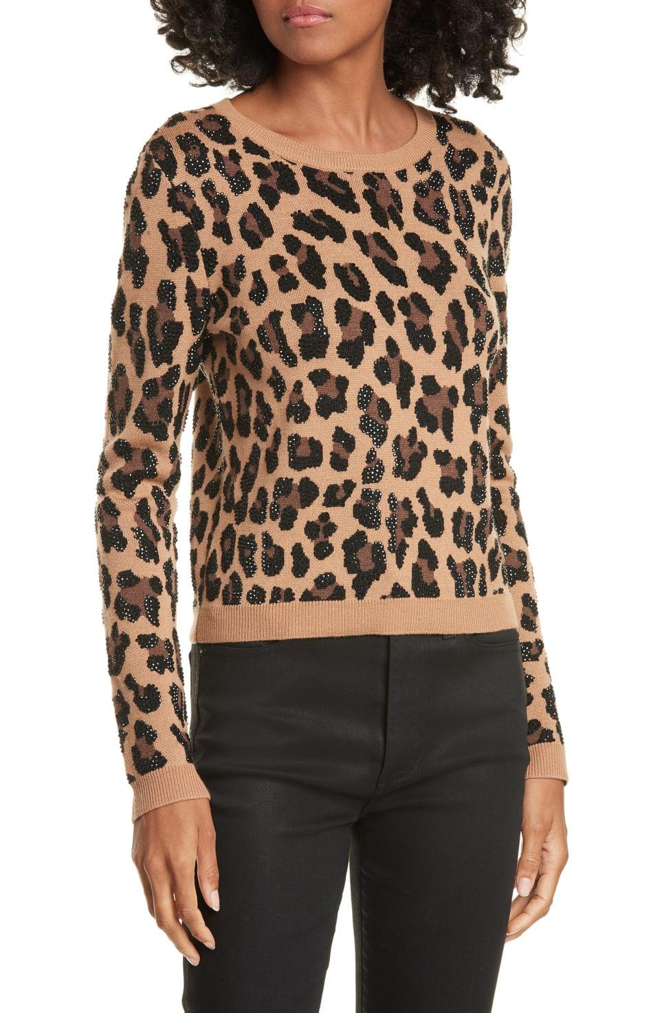 Women's Alice + Olivia Connie Animal Print Stud Detail Stretch Wool Sweater