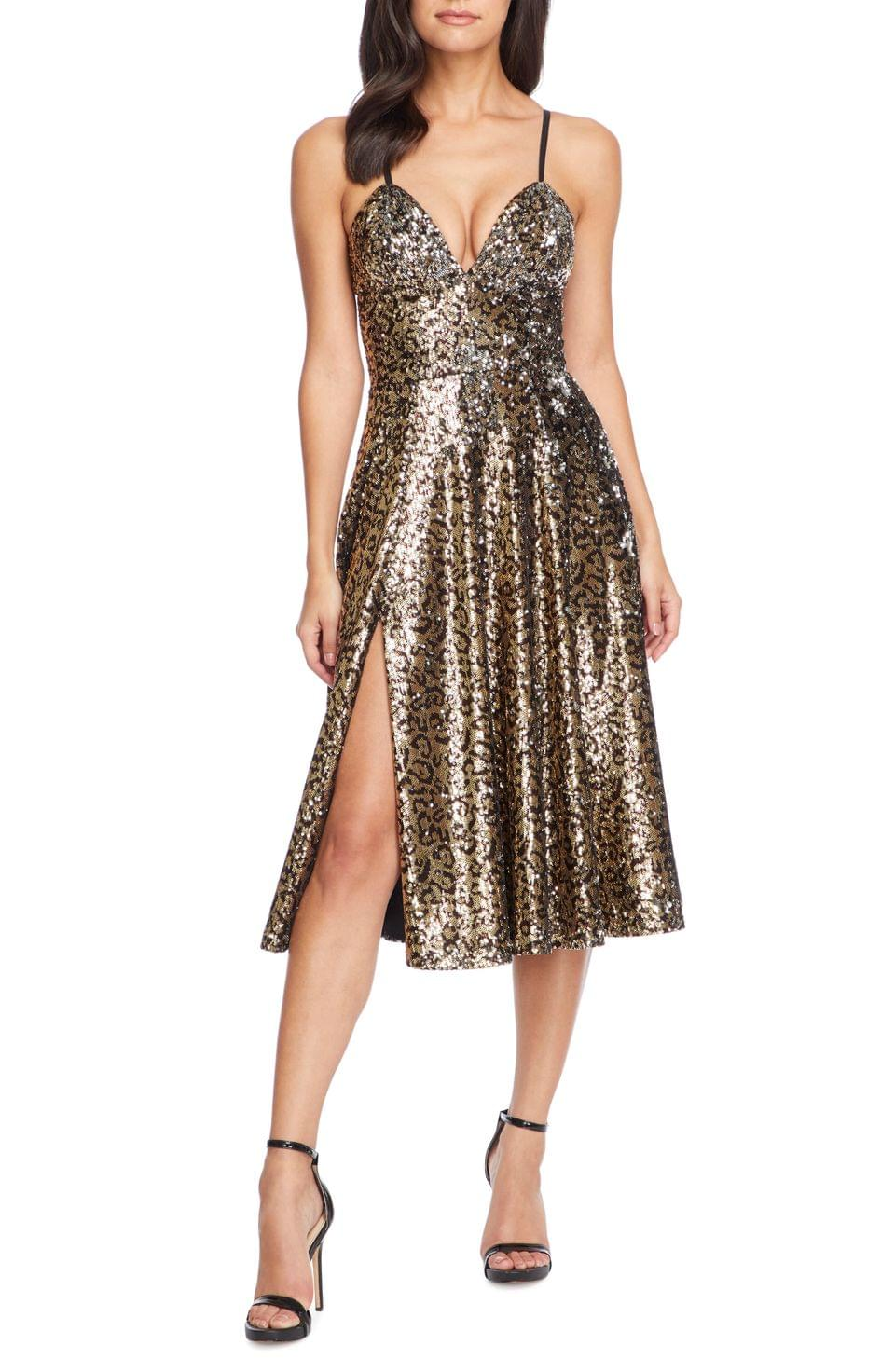 Women's Dress the Population Mimi Leopard Sequin Cocktail Dress
