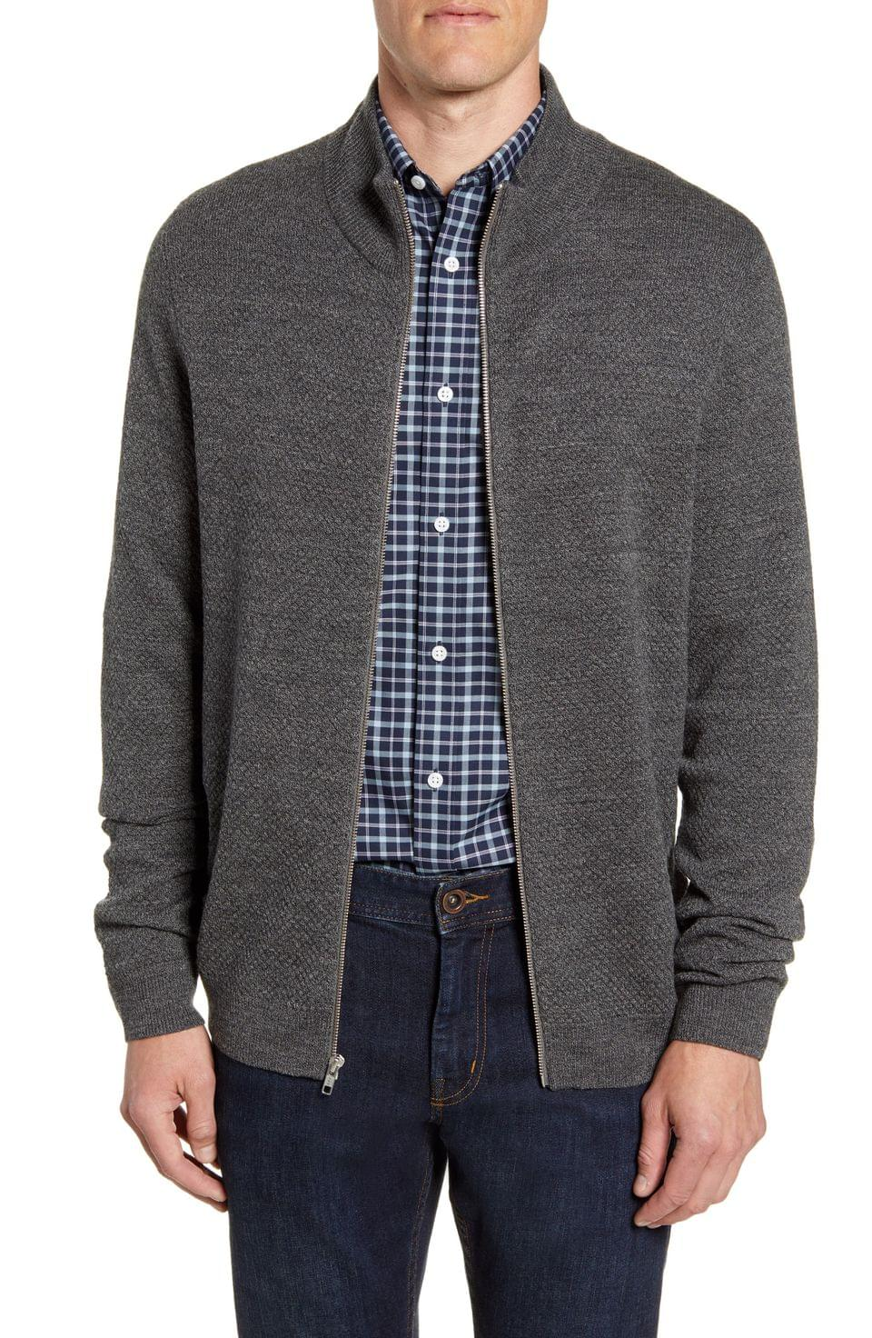 Men's Nordstrom Men's Shop Mock Neck Zip Sweater