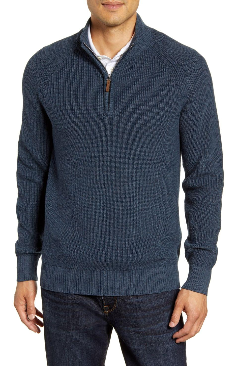 Men's Nordstrom Men's Shop Ribbed Quarter Zip Sweater