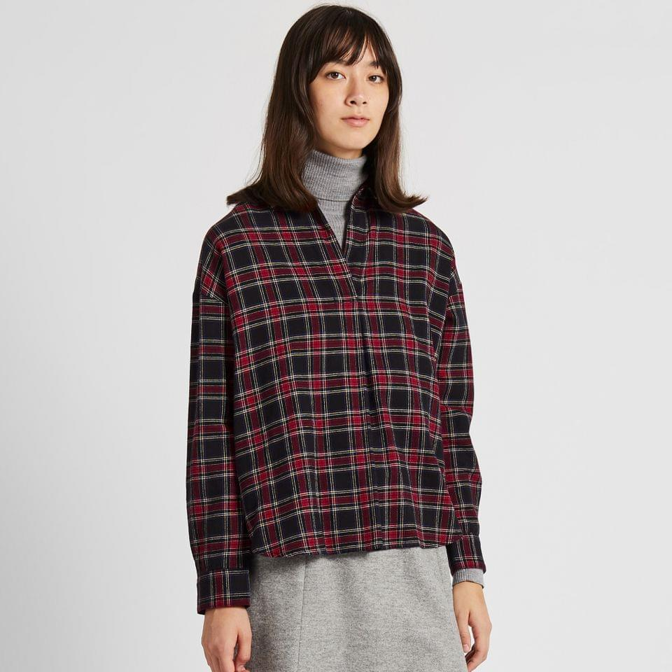 Women's WOMEN FLANNEL CHECKED SKIPPER COLLAR LONG-SLEEVE SHIRT