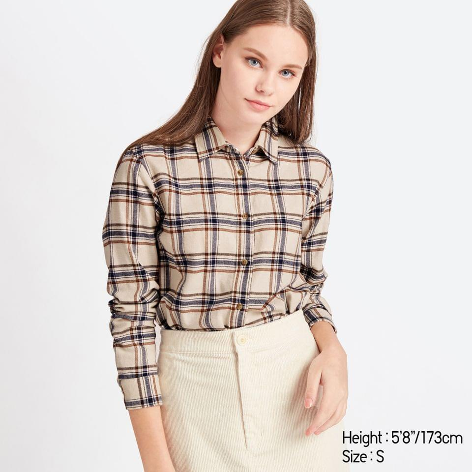 Women's WOMEN FLANNEL CHECKED LONG-SLEEVE SHIRT