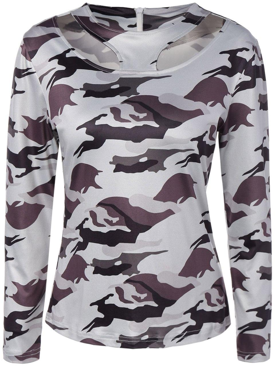 Women's Cut Out Camouflage T-Shirt - White Xl