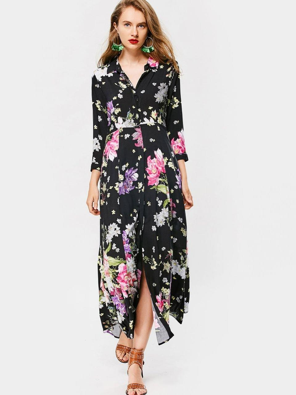 Women's Button Up Long Sleeve Floral Maxi Dress - Floral L