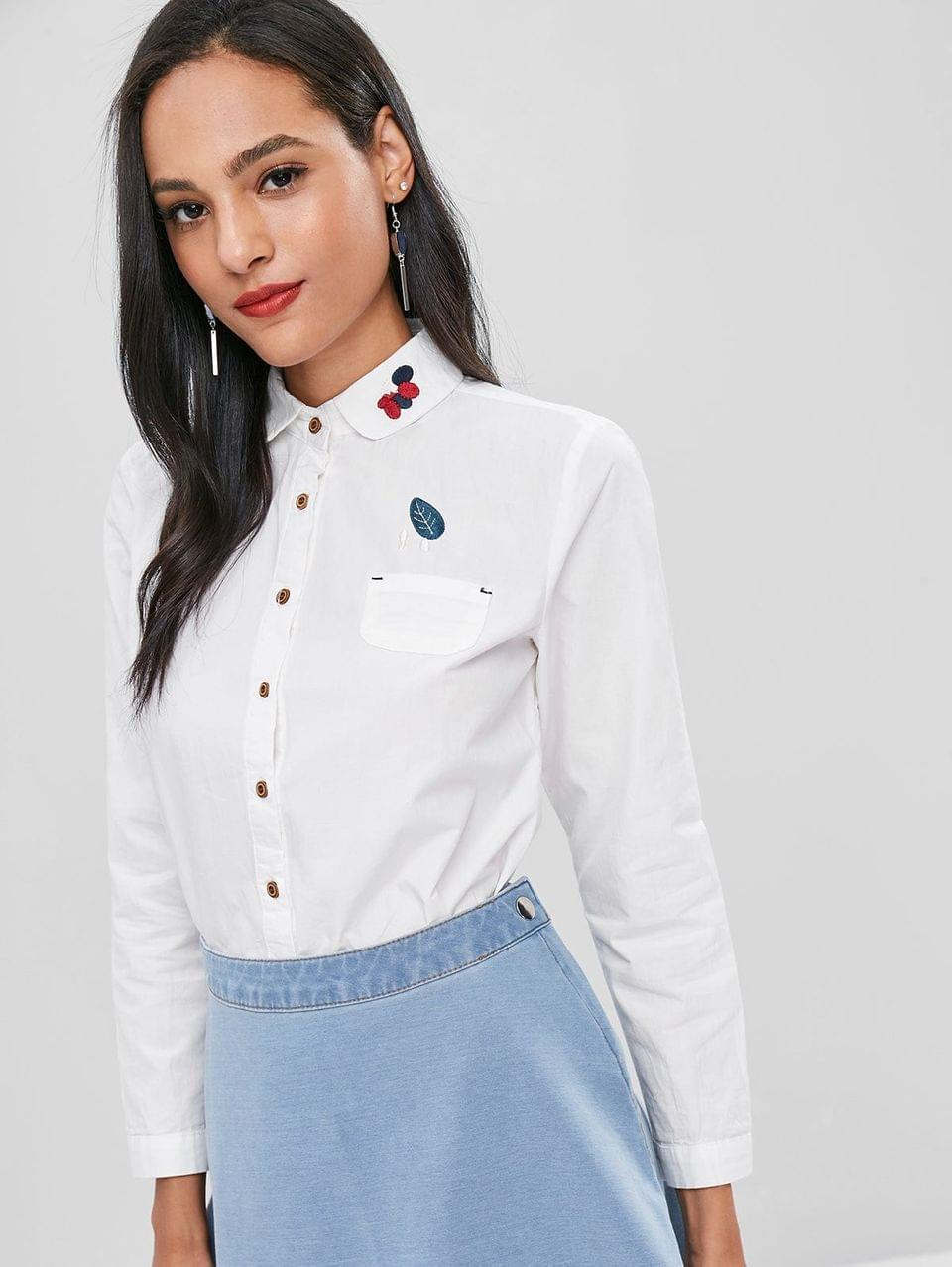 Women's Front Pocket Embroidery Cotton Shirt - White L