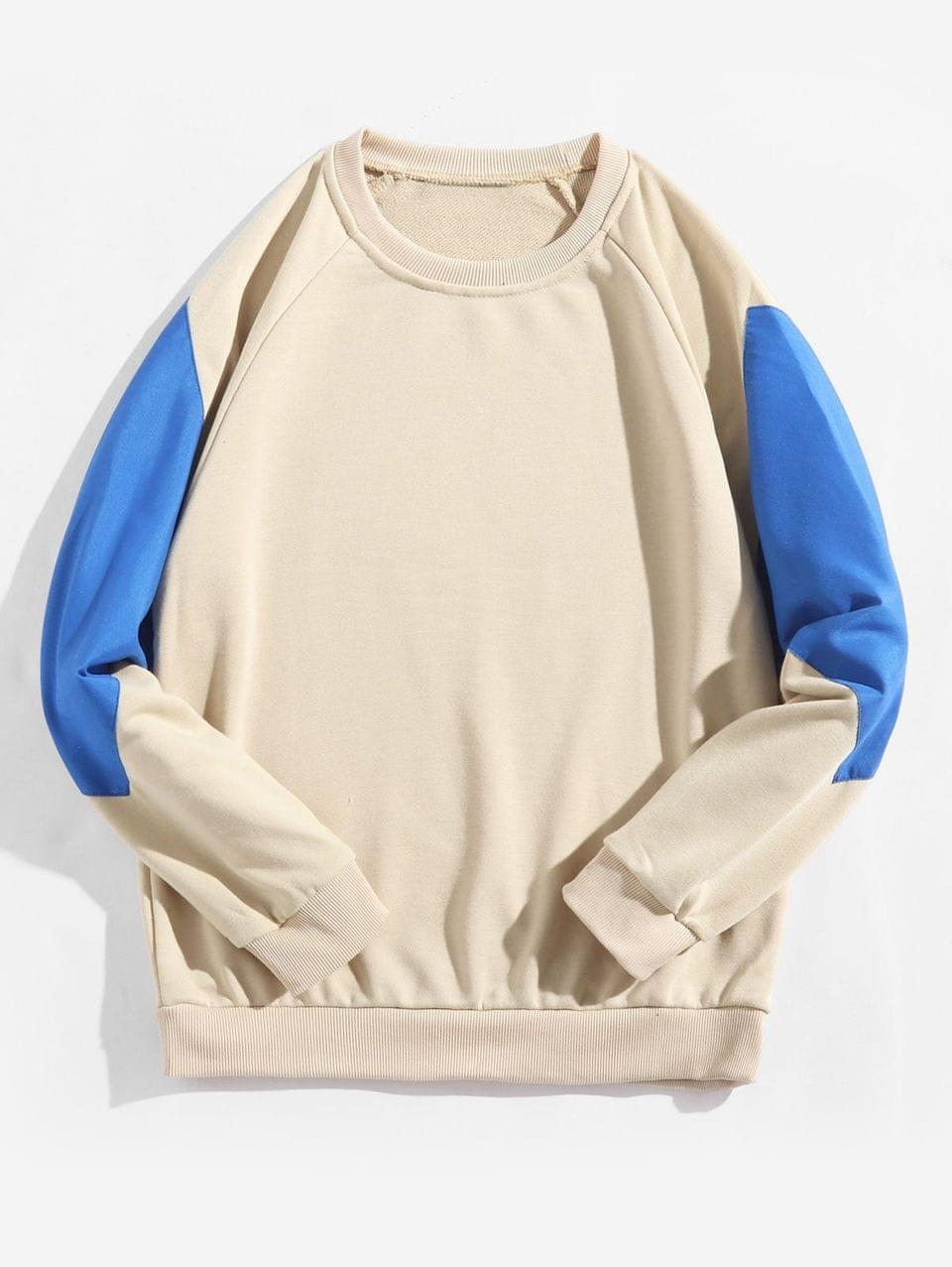 Men's Raglan Sleeve Color Block Splicing Round Neck Sweatshirt - Vanilla M