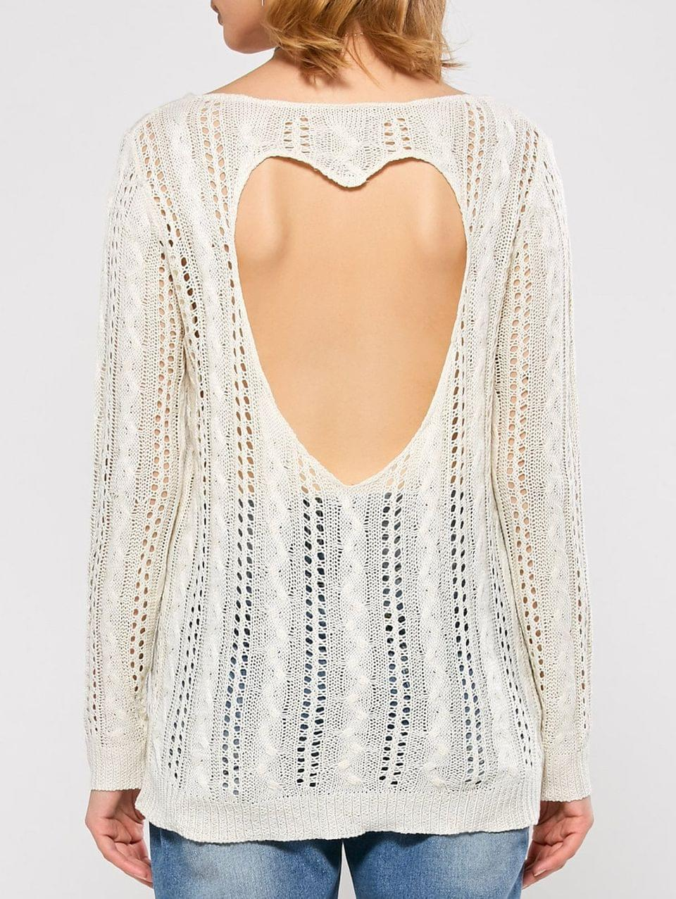 Women's Heart Cutout Back Open Knit Sweater - White M