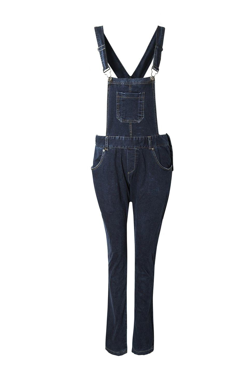 Women's Blue Black Denim Dungarees - Deep Blue Xl