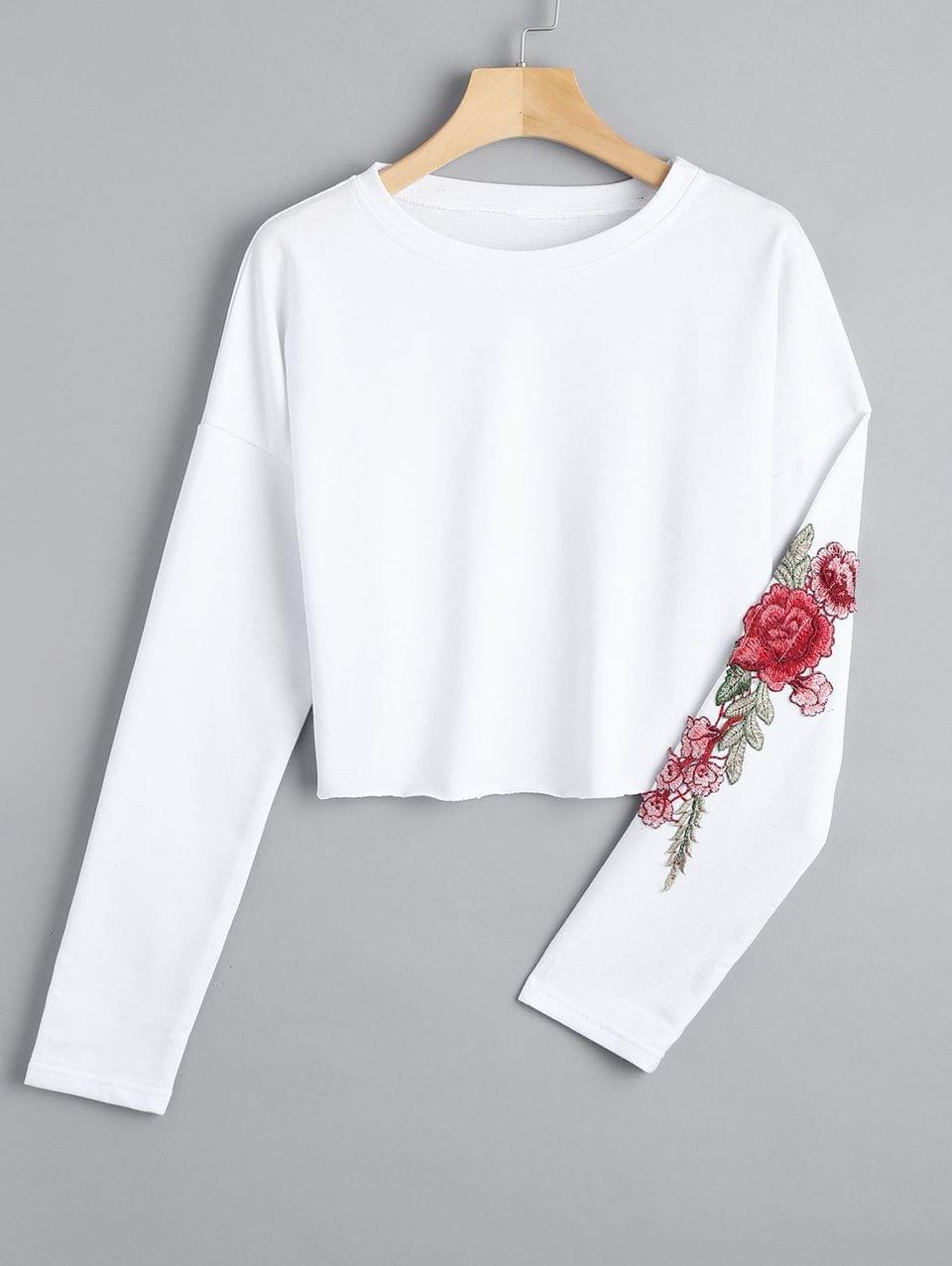 Women's Cropped Floral Embroidered Patches Sweatshirt - White Xl