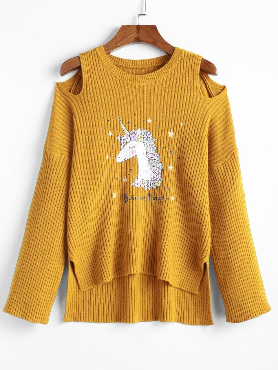 Women's Unicorn Print Cut Out High Low Ribbed Sweater - Caramel L