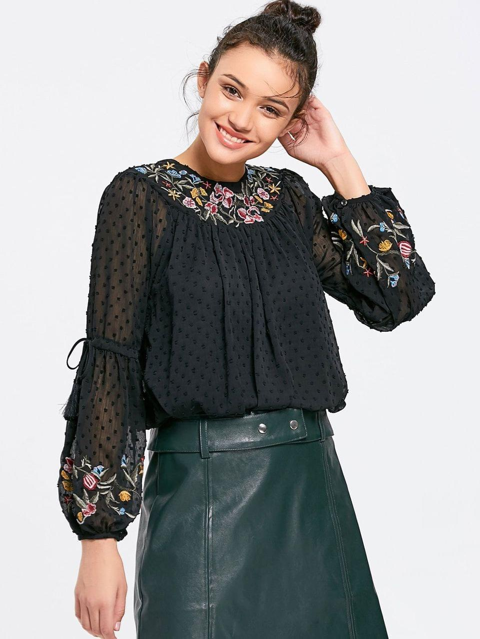 Women's Applique See Thru Floral Embroidered Blouse - Black M