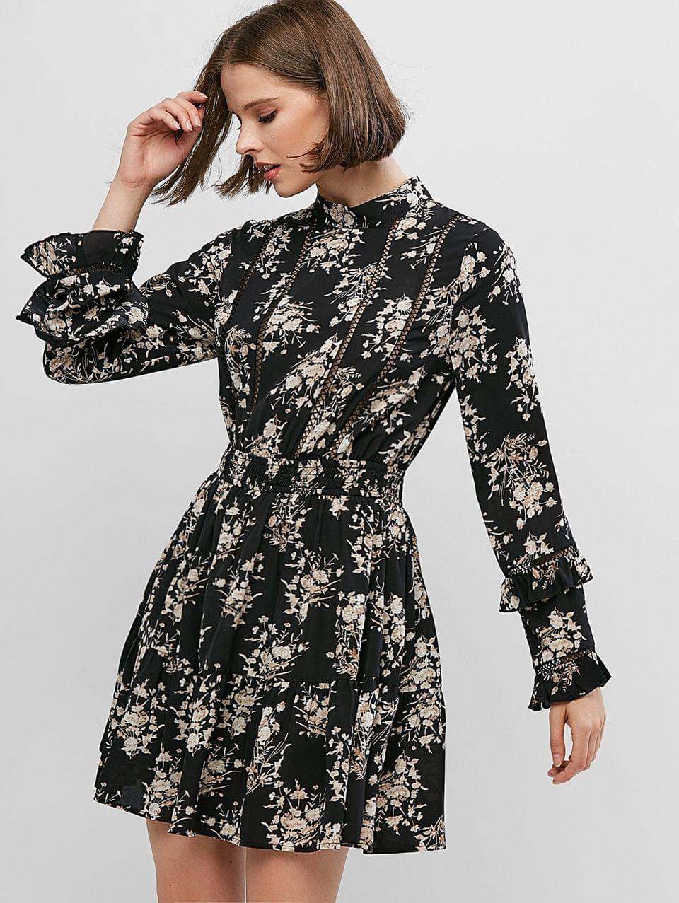 Women's Floral Print Crotchet Trim Long Sleeve Mini Dress - Black Xs