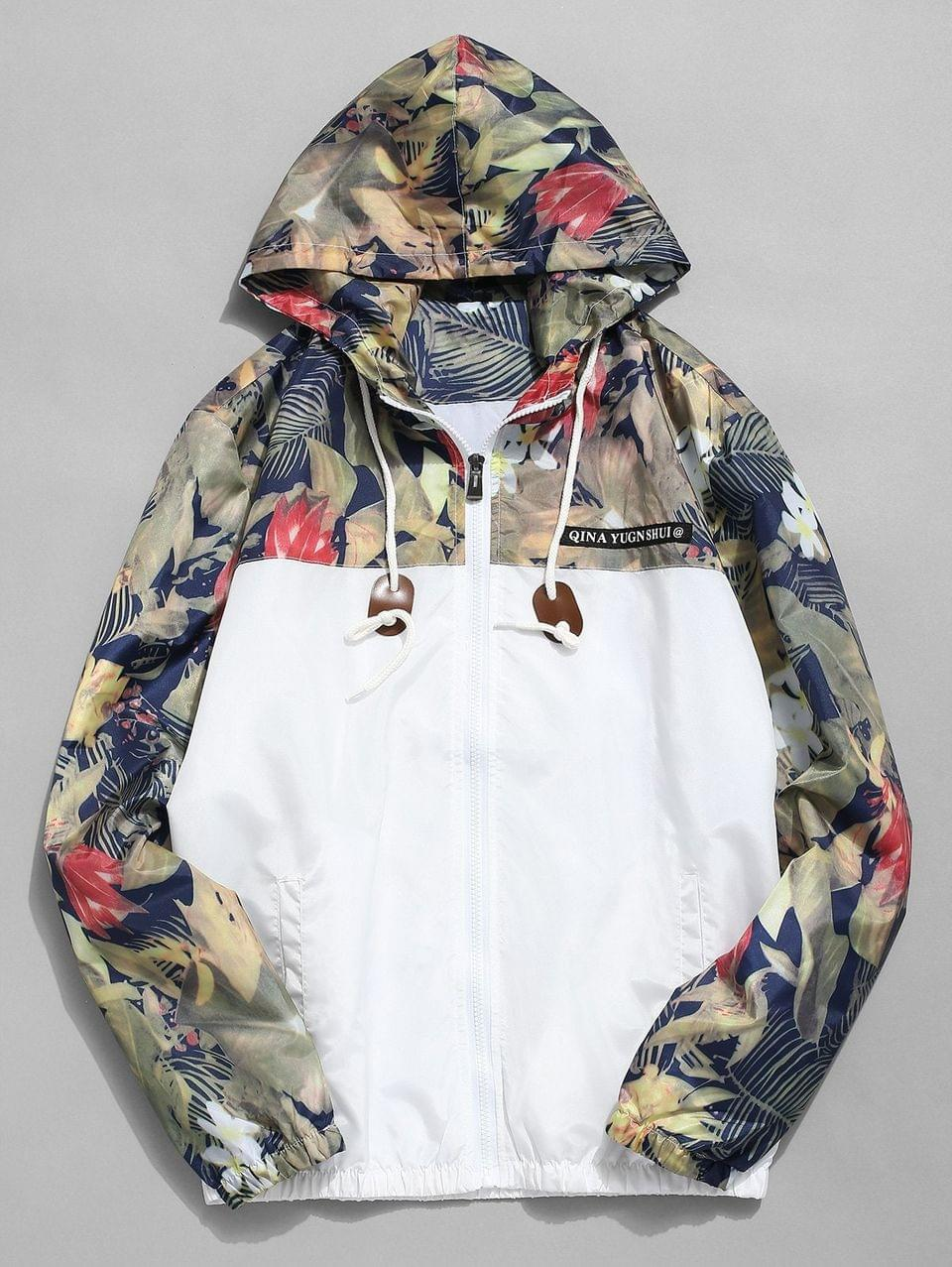 Men's Floral Printed Patchwork Hooded Jacket - White S