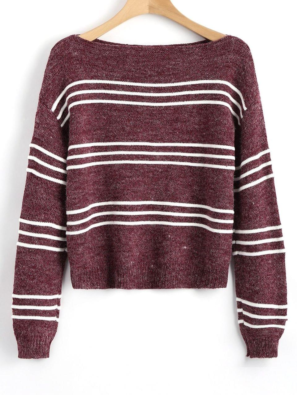 Women's Long Sleeve Stripes Pullover Sweater - Wine Red