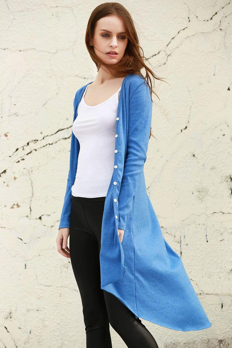 Women's Blue V Neck Long Sleeve Cardigan - Blue M