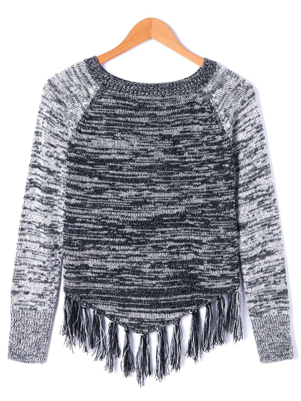 Women's Tassel Long Sleeve Sweater - 2xl