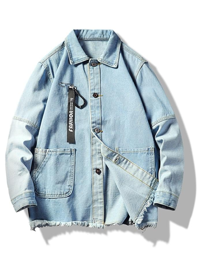 Men's Distressed Colorblock Spliced Applique Jean Jacket - Light Blue S