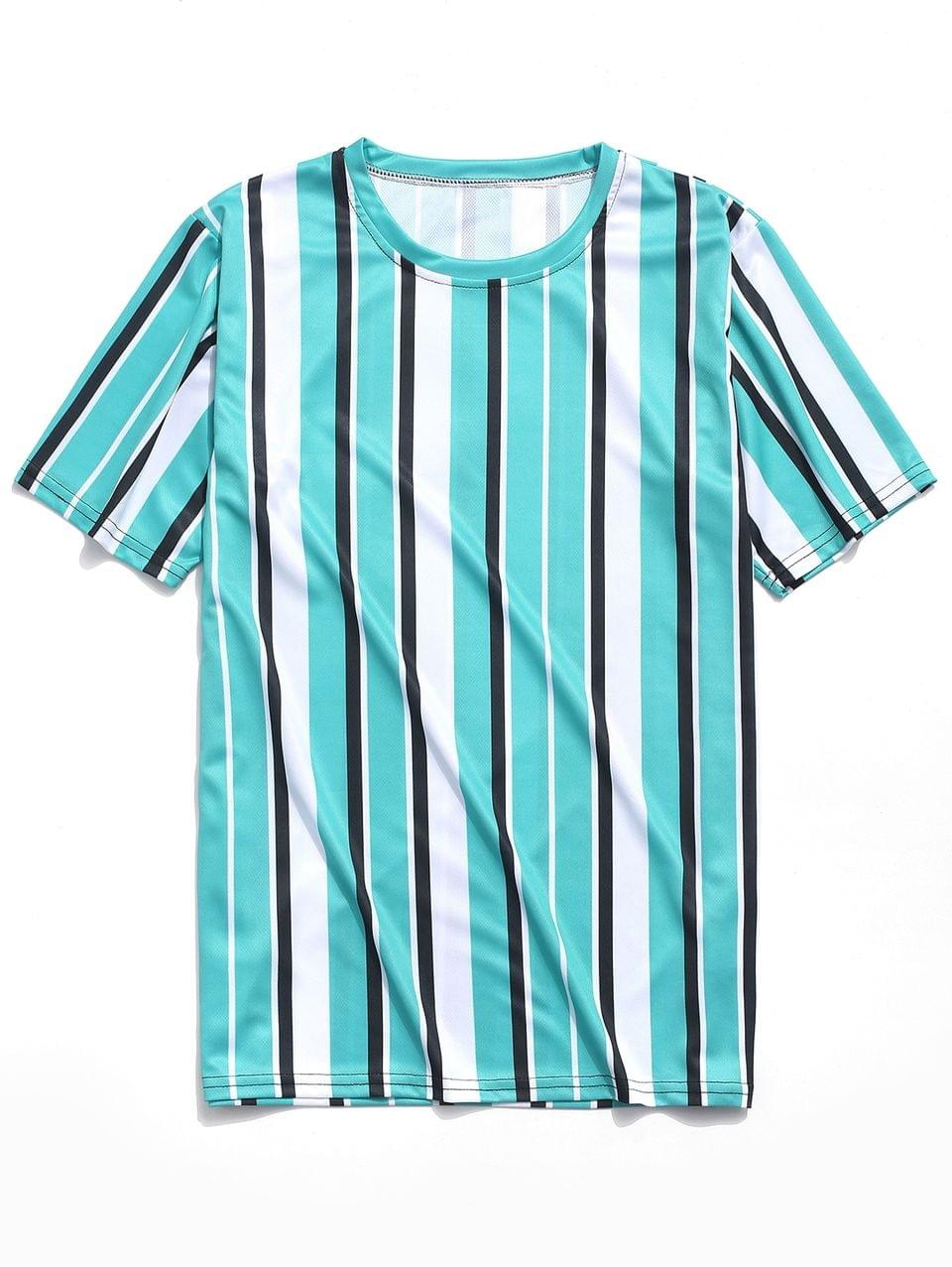 Men's Short Sleeves Vertical Stripes Print Casual T-shirt - Macaw Blue Green M