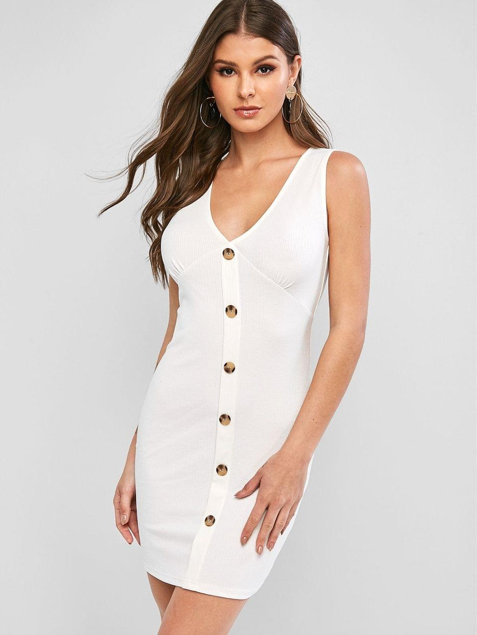 Women's Plunging Button Embellished Sleeveless Bodycon Dress - White L