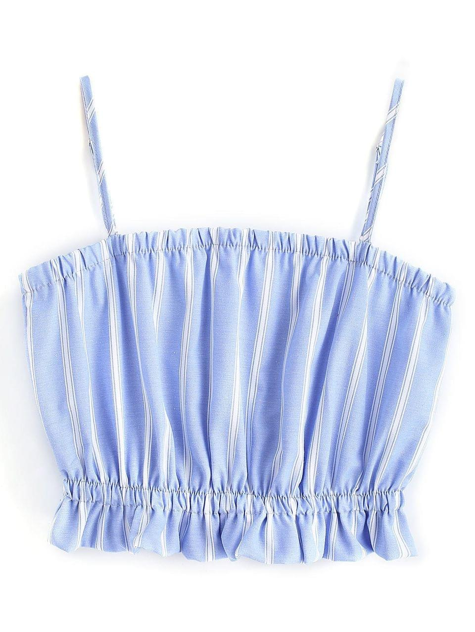 Women's Frilled Cami Crop Top - Blue And White M