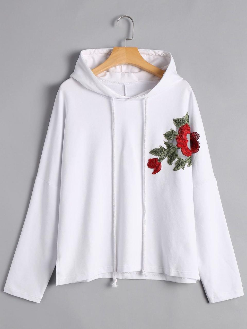 Women's Pullover Floral Applique Hoodie - White S