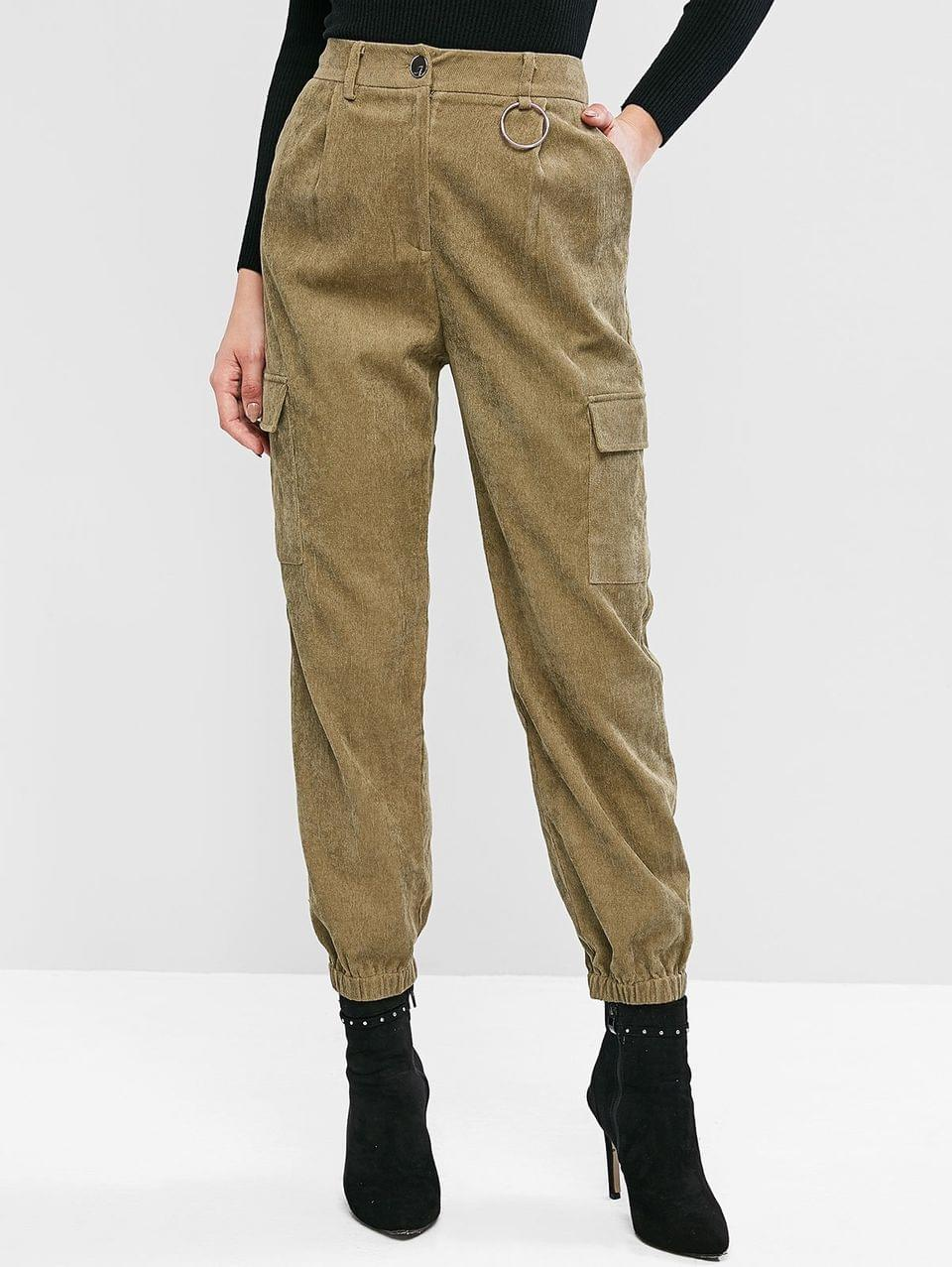 Women's Corduroy Pocket Zipper Fly Cargo Jogger Pants - Army Green L