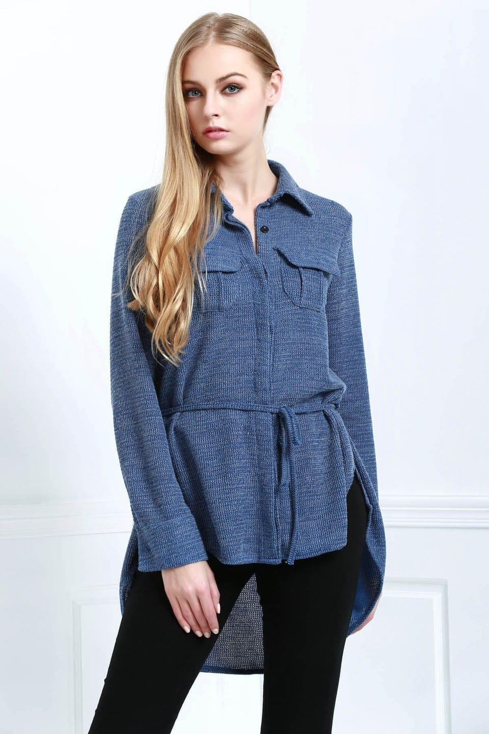 Women's Blue Shirt Neck Long Sleeve Coat - Blue M