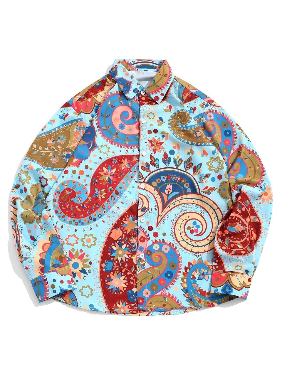 Men's Floral Paisley Swirl Print Long Sleeves Button Casual Shirt - Multi L