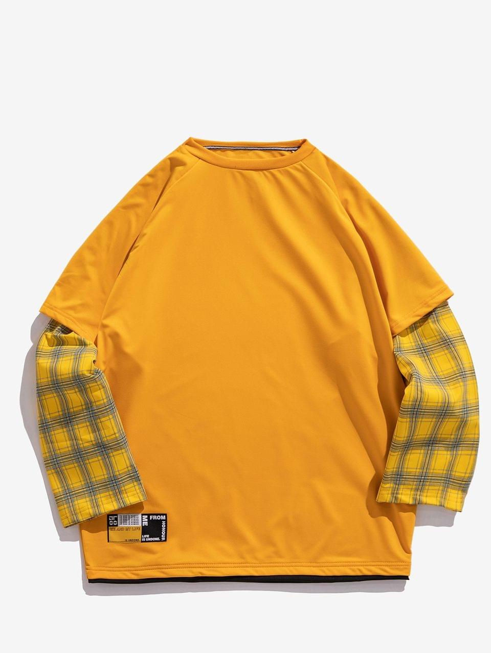 Men's Plaid Splicing Faux Twinset Crew Neck Sweatshirt - Yellow L