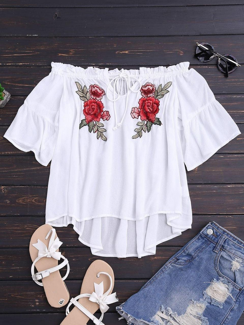 Women's Floral Embroidered Off Shoulder Top - White M