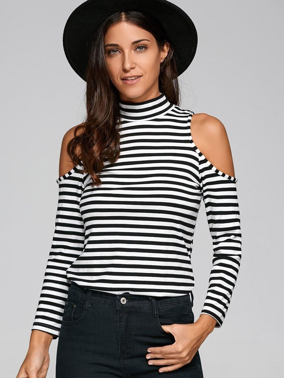 Women's Striped Cold Shoulder T-Shirt - White And Black Xl