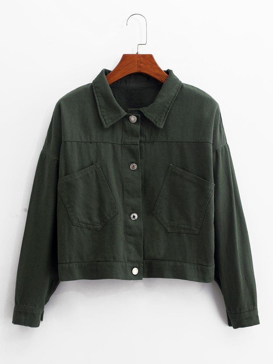 Women's Front Pocket Lace-up Jacket - Deep Green