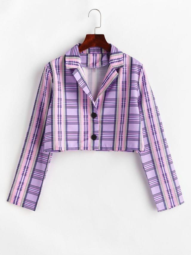 WOMEN Lapel Button Front Plaid Cropped Jacket - Multi-a L